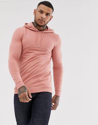 Image 1 of ASOS DESIGN muscle longline hoodie in pink