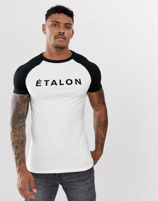 ASOS DESIGN muscle raglan t-shirt with French slogan print