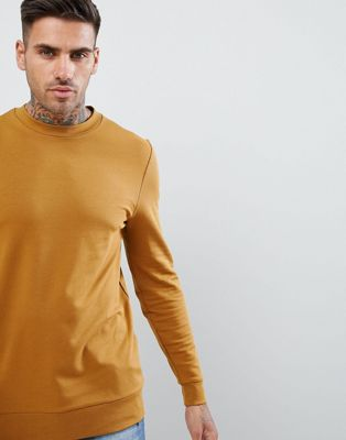 ASOS DESIGN muscle sweatshirt in dark yellow