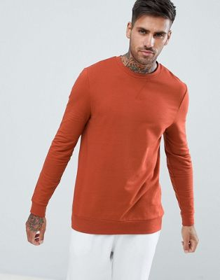 ASOS DeSIGN muscle sweatshirt in rust