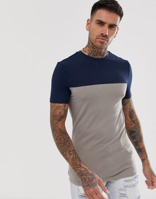 Image 1 of ASOS DESIGN muscle t-shirt with stretch and contrast yoke in beige