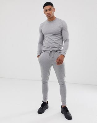 ASOS DESIGN muscle tracksuit in gray marl