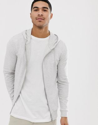 Image 1 of ASOS DESIGN muscle zip thru hoodie in white marl