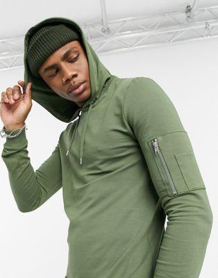 ASOS DESIGN – Muskel-Kapuzenpullover in Khaki mit MA1-Tasche-Grün
