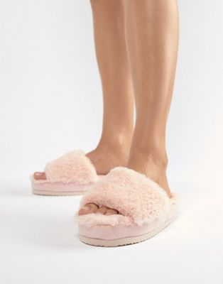 ASOS DESIGN Naomi fluffy flatform slippers