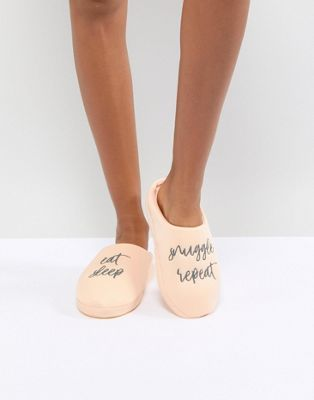 Image 1 of ASOS DESIGN Nearly Bedtime Slogan Slippers