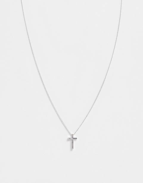 ASOS DESIGN necklace with ditsy cross in silver tone