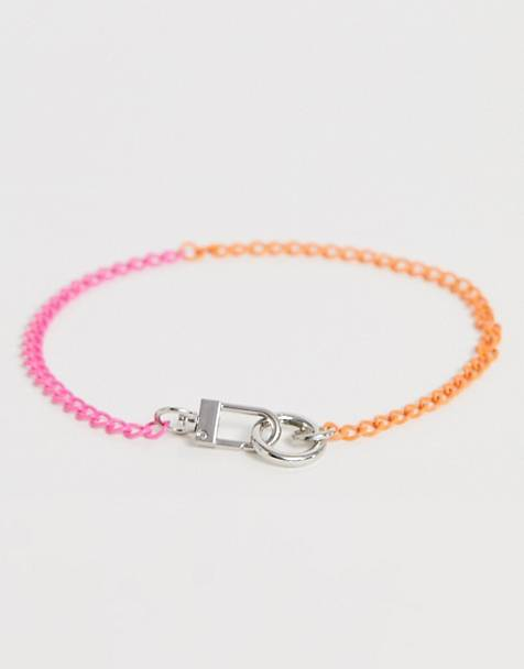 ASOS DESIGN necklace with neon link chain and clasp