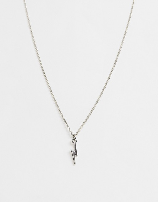 ASOS DESIGN necklace with tiny lightning bolt in silver tone