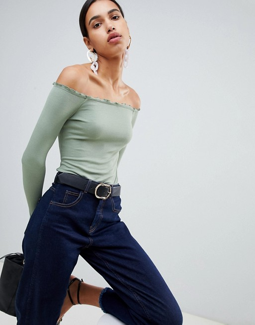 Image 1 of ASOS DESIGN off shoulder body with long sleeves and lettucing
