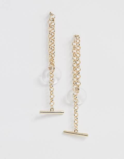 ASOS DESIGN – Ohrringe in Gold mit Gliederkettendesign, Knebelverschluss und offenem Kunstharzring