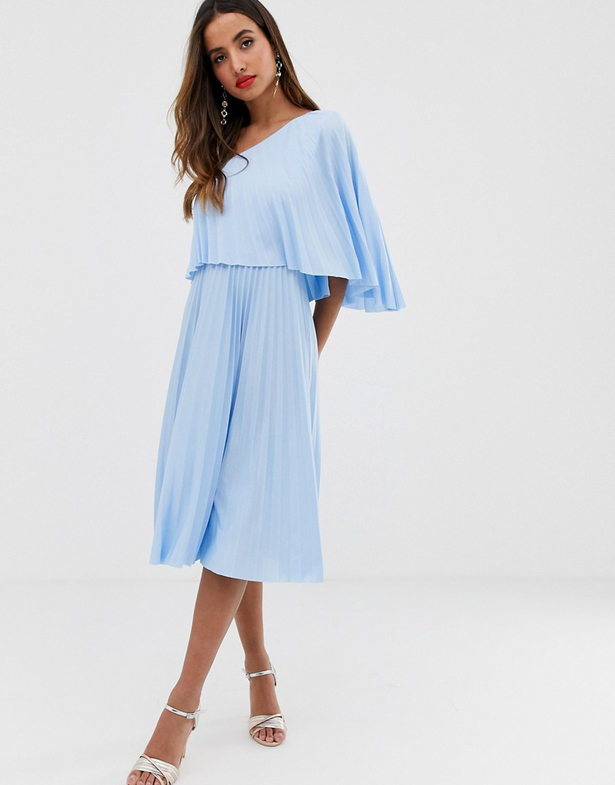 Asos Design One Shoulder Pleated Midi Dress by Asos Design