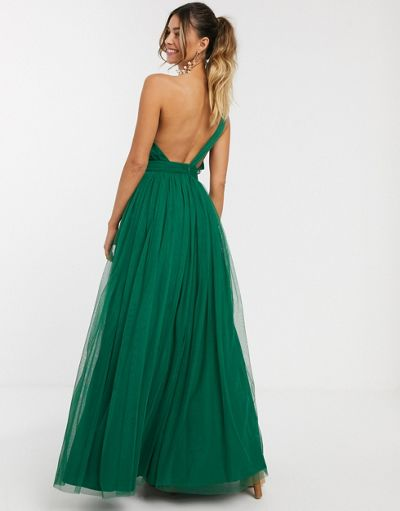 ASOS DESIGN one shoulder tulle maxi dress