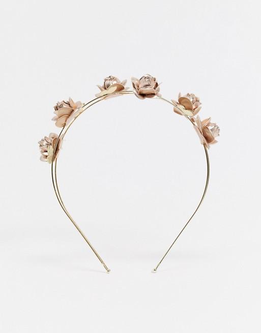 ASOS DESIGN – Opaska na głowę w kolorze złota z ozdobnymi różami