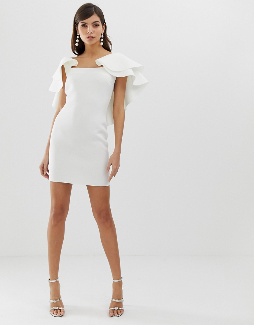 Asos Design Open Back Mini Dress With Double Ruffle by Asos Design