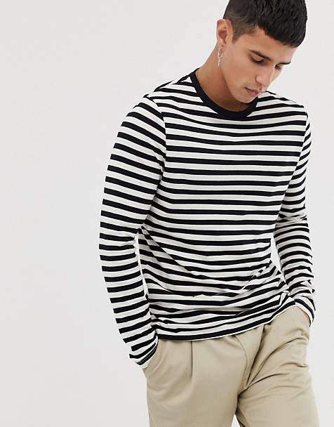ASOS DESIGN organic cotton long sleeve stripe t-shirt in black and white