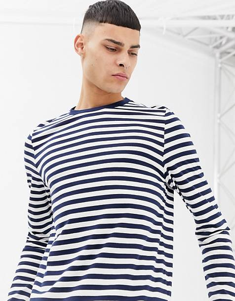 ASOS DESIGN organic cotton stripe long sleeve t-shirt in navy and white