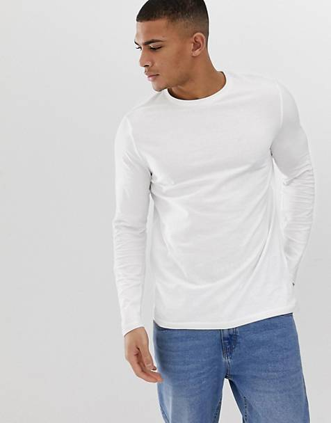 ASOS DESIGN organic long sleeve crew neck t-shirt in white