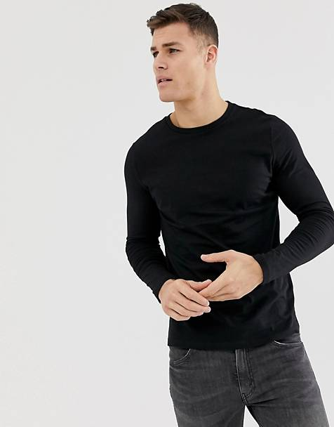 ASOS DESIGN organic long sleeve t-shirt in black