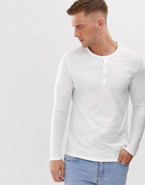 ASOS DESIGN organic long sleeve t-shirt with grandad neck in white