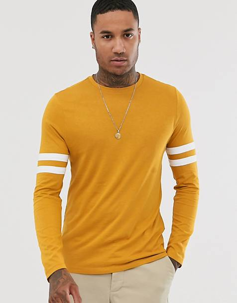 ASOS DESIGN organic long sleeve t-shirt with stretch with contrast sleeve stripe in yellow