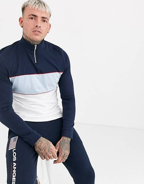 ASOS DESIGN organic long sleeve t-shirt with turtle zip neck and color block in navy