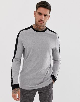 ASOS DESIGN organic longline long sleeve t-shirt with contrast shoulder panel in gray marl