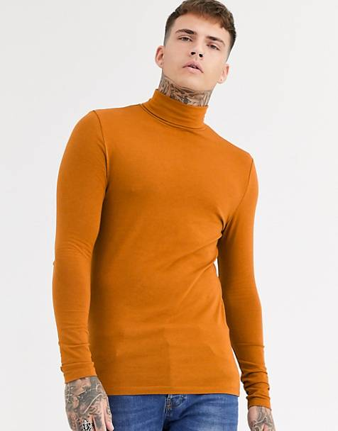 ASOS DESIGN organic muscle fit long sleeve roll neck t-shirt in brown