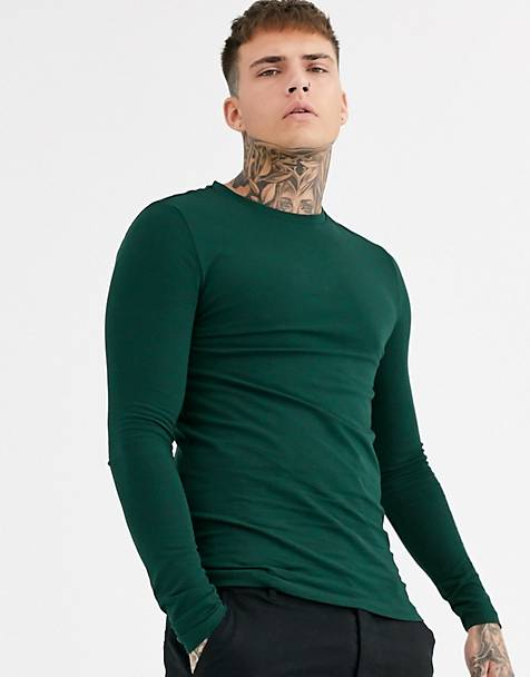 ASOS DESIGN organic muscle fit long sleeve t-shirt in green