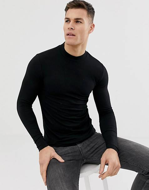 ASOS DESIGN organic muscle fit long sleeve turtleneck t-shirt in black