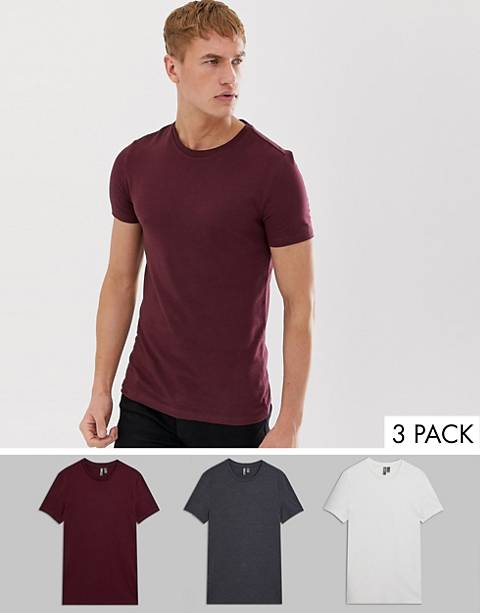 ASOS DESIGN organic muscle fit t-shirt with crew neck 3 pack multipack saving