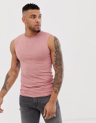 ASOS DESIGN organic muscle fit tank tank in pink