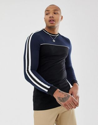 Image 1 of ASOS DESIGN organic muscle longline long sleeve t-shirt with stretch and contrast yoke with taping in black