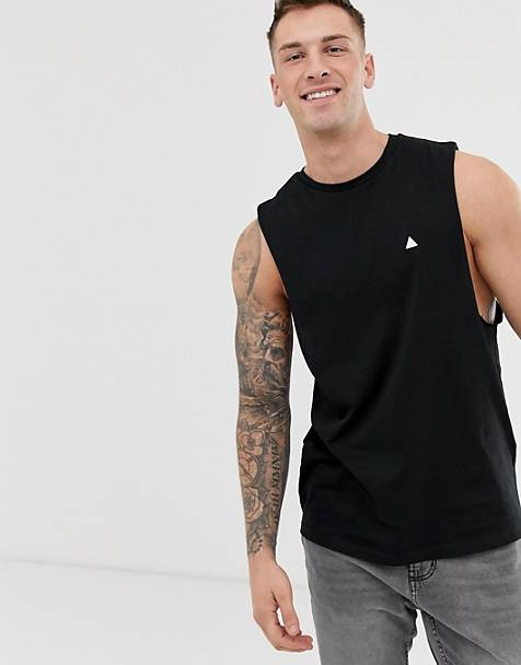 ASOS DESIGN organic relaxed sleeveless t-shirt with crew neck and dropped armhole and logo in black