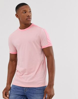 ASOS DESIGN organic t-shirt with contrast shoulder panel in pink