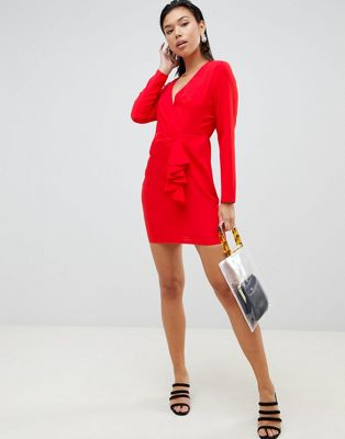 ASOS DESIGN origami wrap front mini dress