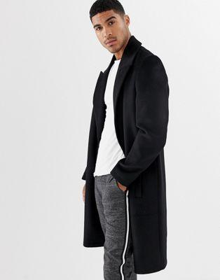 ASOS Design - Overjas van wolmix met puntige revers in zwart