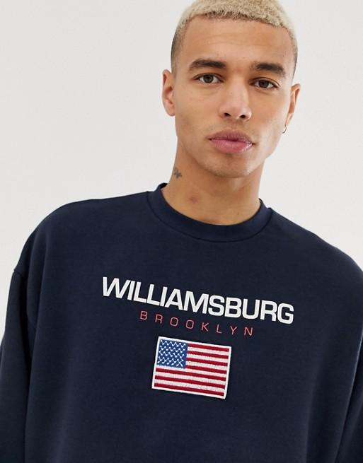 DESIGN ASOS Oversize Print City mit Sweatshirt navy xSRZR8W0n