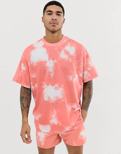 1e7eb2cfc7 ASOS DESIGN – Oversize-T-Shirt in Rosa mit Batik-Waschung, Kombiteil