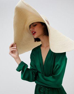 ASOS DESIGN oversize turn back brim straw hat