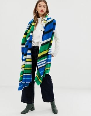 ASOS DESIGN oversized brushed scarf in yellow and blue stripe