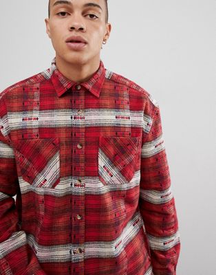 ASOS DESIGN oversized check shirt with aztec design in red