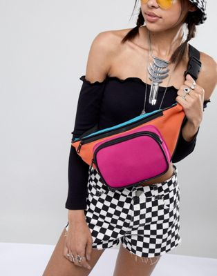 ASOS DESIGN Oversized Colourblock Scuba Bum Bag