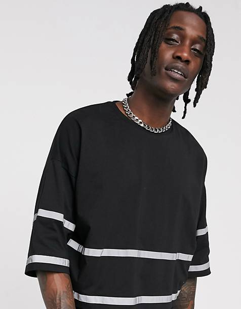 ASOS DESIGN oversized cropped t-shirt with reflective tape