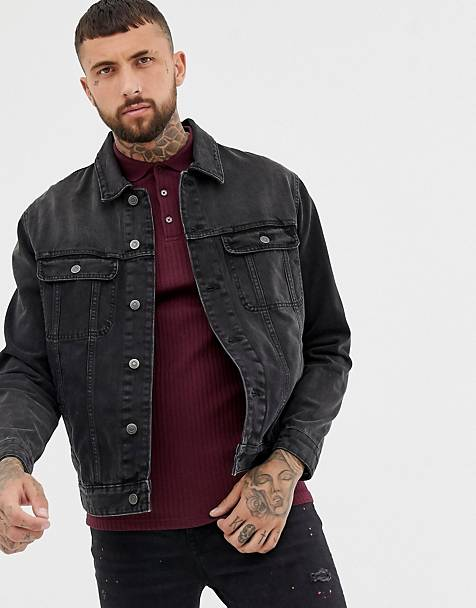 ASOS DESIGN oversized denim jacket in washed black