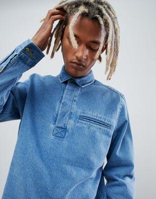 ASOS Design - Oversized denim overhemd zonder sluiting in mid wash