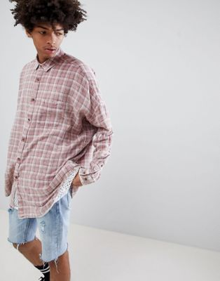 ASOS DESIGN oversized drop shoulder longline check shirt in bleach wash