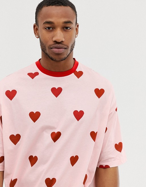 Image 1 of ASOS DESIGN oversized fit t-shirt with all over heart print