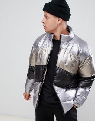 ASOS DESIGN -  Oversized gewatteerd jack in zilver