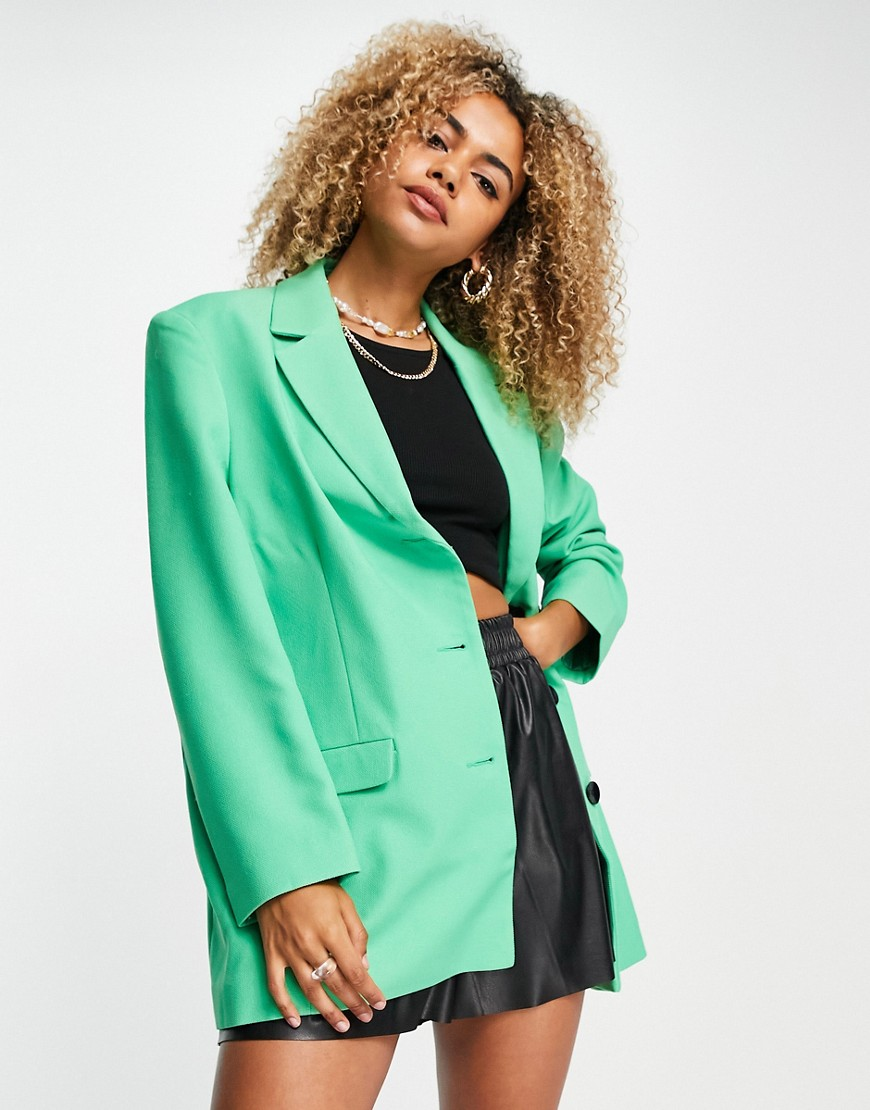 ASOS DESIGN - Oversized grandad-blazer i grøn